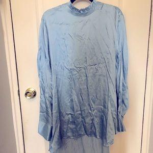 Zara Silky Blue Shirt Dress 👗